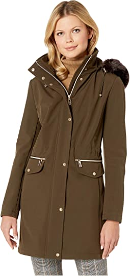 Softshell Jacket with Fur Hood and Tie Waist