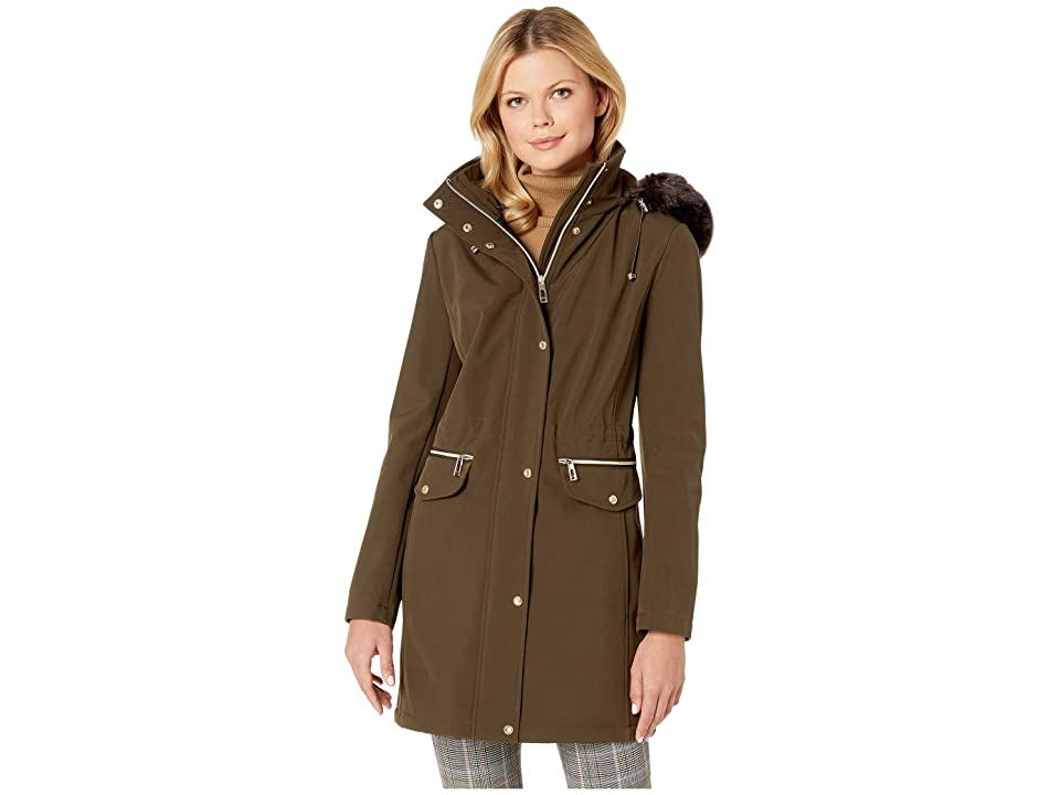 Ivanka Trump Softshell Jacket with Fur Hood and Tie Waist (Olive) Women
