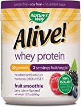Nature's Way Alive! Whey Protein Fruit Smoothie Gluten Free Soy Free No Added Sugar Berry Crème Flavored, 13.7 oz.