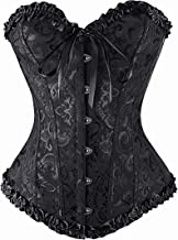 overbust corset,black satin sexy strong boned corset lace up,womens lacing corset top satin floral boned overbust body sha...