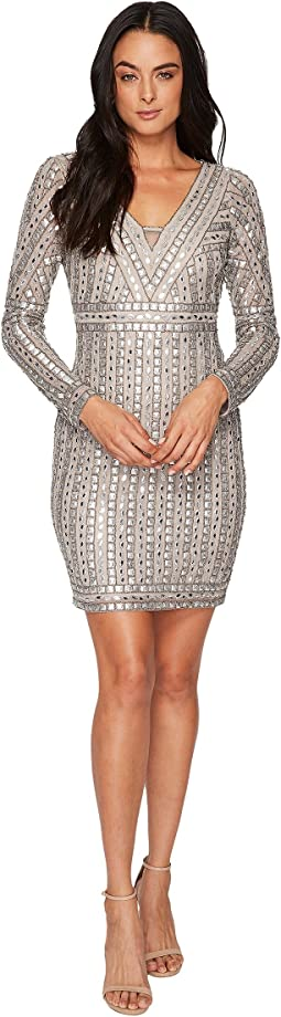 Adrianna Papell - Long Sleeve V-Neck Novelty Beaded Dress