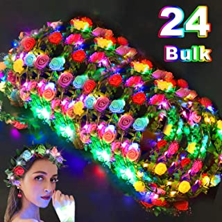 24Pack LED Flower Crown Colorful Headband Light Up Flower Wreath Headdress Stick Glow in The Dark Party Favors Flashing Garland for Women Teen Girls Dress Up Accessories for Halloween Birthday Wedding