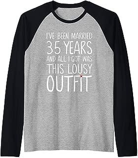 35 Years Wedding Anniversary Gift Idea for Him & Her Couples Raglan Baseball Tee