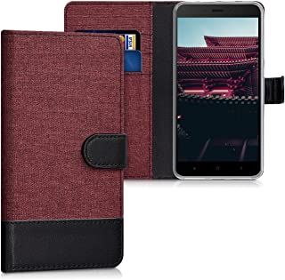 kwmobile Wallet Case for Xiaomi Redmi Note 4 / Note 4X - Fabric and PU Leather Flip Cover with Card Slots and Stand - Dark Red/Black