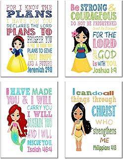 Princess Inspirational Nursery Decor Set of 4 Prints, Snow White, Mulan, Ariel and Pocahontas