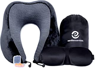 Travel Pillow Premium Memory Foam   Neck Comfort and Support   Fitted Eye Mask and Noise Blocking Ear Plugs Accessories Bundle by Earth Essentials