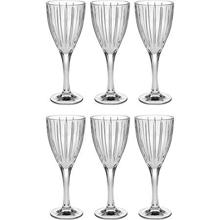 Barski European Quality Glass Crystal Set Of 6 Wine Or Water Goblet 10 Oz Classic Clear Striped Design Glasses Are Made In Europe Goblets Chalices