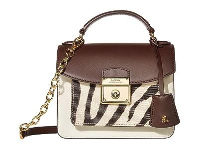 LAUREN Ralph Lauren Heritage Lock Smooth Canvas Beckett 19 Satchel Small (Chestnut/Natural/Zebra) Handbags