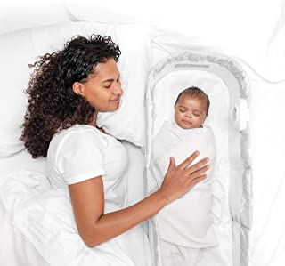 Baby Delight Snuggle Nest Harmony Infant Sleeper | Silver Clouds Fabric Pattern | Portable Sleeper with Sound & Light Unit...