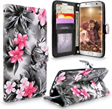S7 Edge Case, Galaxy S7 Edge Case, Cellularvilla [Slim] [Card Slot] Premium Pu Leather Wallet Case [Drop Protection] Flip Protective Stand Cover For Samsung Galaxy S7 Edge G935 (Black Pink Flower)