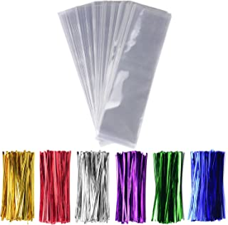 """300 Pcs 3"""" x11"""" Cellophane Treat Bags Clear Flat Cello Treat Bags 1.4mil thickness with 6 Mix Colors Twist Ties Good for Bakery Cookies Christmas Halloween Wedding Party Decorative Gift"""
