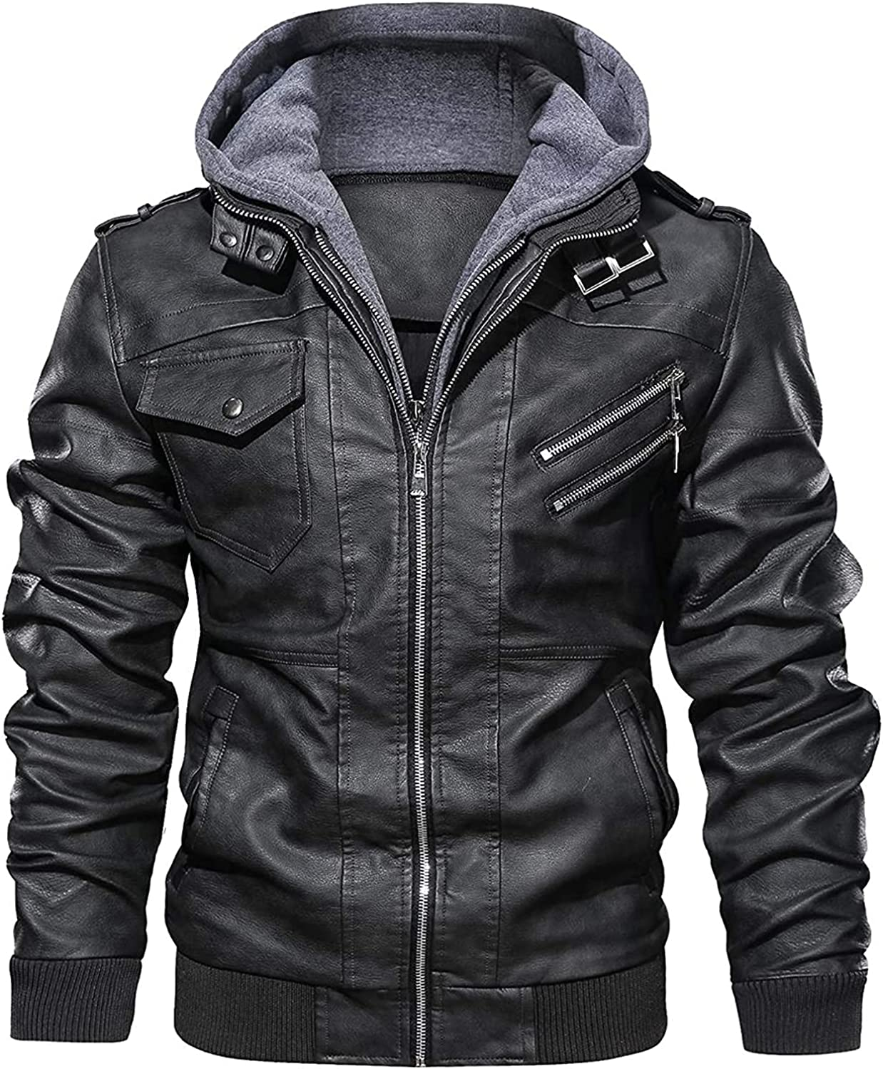 Men's Casual Stand Collar Cow Hide Real Leather Zip-Up Motorcycle Bomber Jacket Removable Hood by MH Threads