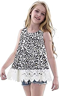 Leopard Tshirts Top for Girls Children Sleeveless Lace Tunic Blouse Tee Loose Fit Crewneck Outfits Clothing 8-9 Year Old, ...