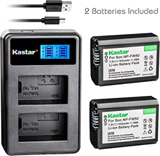 Kastar 2X Battery + Dual LCD Charger for NP-FW50 & Sony Alpha 6300 Alpha 6500 ILCE-QX1 Alpha 7 7R 7R II 7S a7R a7S a7R II a5000 a5100 a6000 a6300 NEX-7 DSC-RX10 DSC-RX10 II III 7SM2 ILCE-7R 7S