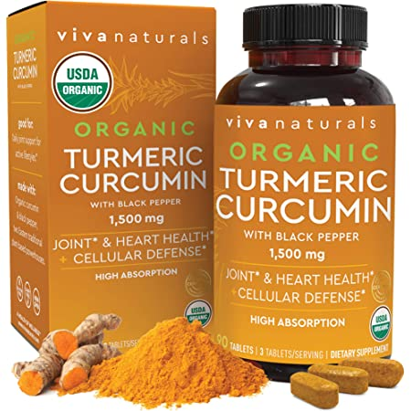 Organic Turmeric Curcumin Supplement 1,500mg (90 Tablets) | with Black Pepper for Superior Absorption, High Potency Standardized to 95% Curcuminoids, Natural Joint Support