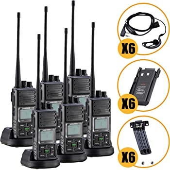 Long Range Rechargeable Two-Way Radio with Earpiece & Mic, Sanzuco Handheld Walkie Talkie with Group Talk Function, Frequency Reprogrammable, 3000mAh Li-Battery, Dock Charger Included (Black, 6 Pack)