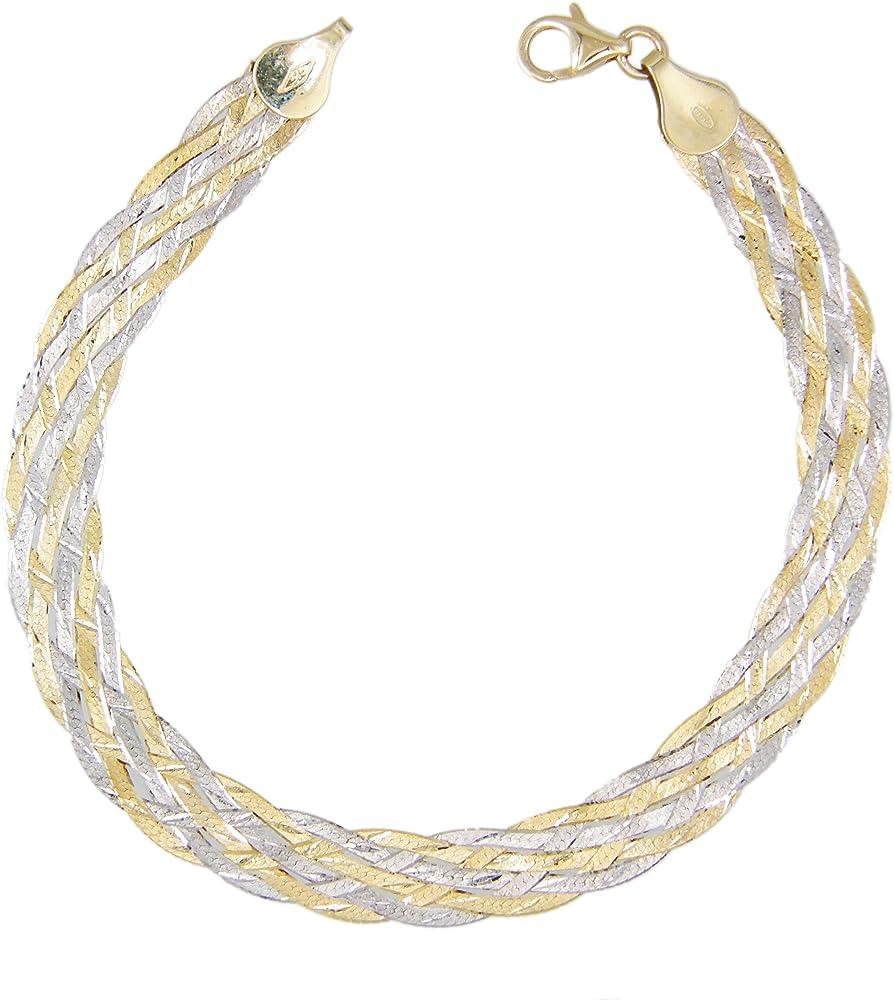 L atelier d azur, bracciale per donna, intrecciato a due ori, in oro  giallo e bianco 9kt/375(3,5 gr) LADABRTR1BI