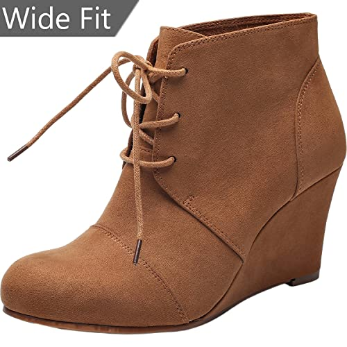 bbd6be93234 Women s Wide Width Wedge Boots - Lace Up Low Heeled Ankle Booties w Round  Closed