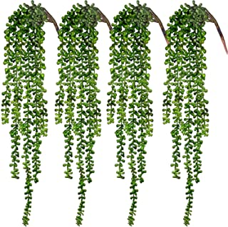 Best CEWOR 4pcs Artificial Succulents Hanging Plants Fake String of Pearls for Wall Home Garden Decor (23.62 Inches Each Length) Review