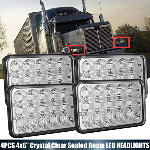 popular 4Pcs 4X6 Inch LED Headlight for International wholesale Harvester 9300 Clear Sealed Beam Upgrade Rectangular Headlamp High/Low Standard H4 Plug H4651 H4652 H4656 H4666 H6545 Replacement high quality - 2 Year Warranty outlet sale