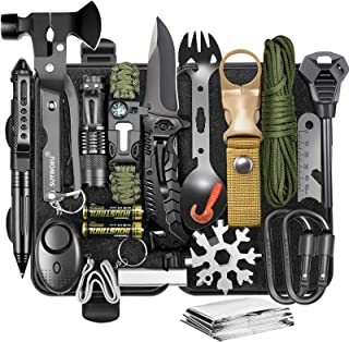 Gifts for Men Dad Husband Fathers Day, Survival Gear and Equipment 20 in 1, Professional Cool Gadgets Tactical Tool Accessories, for Emergency Hunting Outdoors Sport Camping Hiking