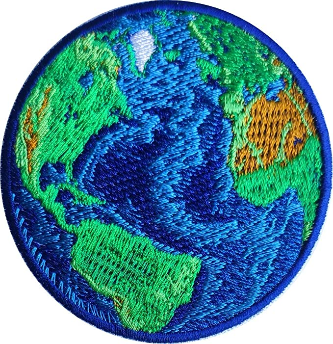 """3/"""" Circle Sew Earth Globe Planet Iron On Patch Environment Global Gift"""