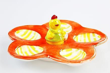 Preisvergleich für Unbekannt KAMACA Eierplatte Eierteller Eierhalter für 5 Eier mit lustigem Küken aus glänzendem Dolomeit Servierplatte für Eier Frühstückseier Ostereier dekorativ Nicht nur zu Ostern