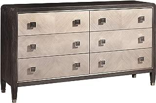 Retro Modern Dark Oak 6-Drawer Dresser Beige Brown Multi Color Mid-Century Transitional Veneer Wood Finish Hidden Storage Includes Hardware