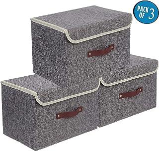 E-MANIS Cajas de almacenajeCajas de Almacenamiento con TapasSet de 3 Organizadores de JuguetesRopa y Libros para Dormit...