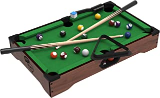 Mini Tabletop Pool Set- Billiards Game Includes Game Balls, Sticks, Chalk, Brush and..