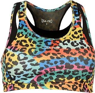 USA Pro Womens Ladies Medium Sports Bra Training Crop Tops T Shirt Tee Juicy Leopard 12 (M)