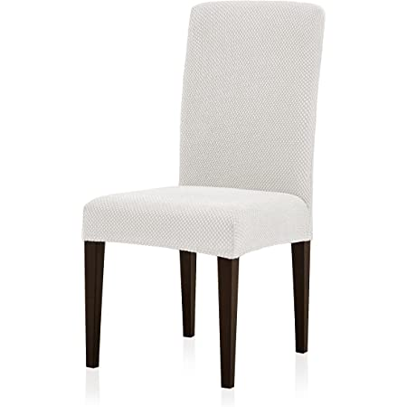 subrtex Dining Room Chair Slipcovers Parsons Chair Covers Sets Stretch Dining Chair Covers Removable Kitchen Chair Covers Chair Protector Covers for Dining Room, Restaurant , Hotel(4, Creme)