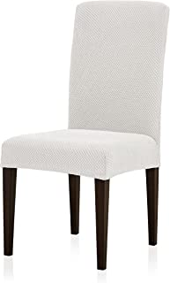 Subrtex Jacquard Dining Room Chair Slipcovers Sets, Stretch Chair Furniture Protector Covers, Removable Washable Elastic Parsons Chair Cover for Dining Room, Hotel, Ceremony (4, Creme Jacquard)