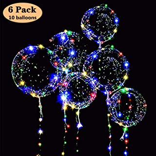 6 Packs LED Light Up BoBo Balloons Colorful, 10 PCS Bobo Balloons,3 Levels Flashing LED String Lights,20 Inches Bubble Balloons Helium Style, for Christma/Birthday/Wedding Party Decoration