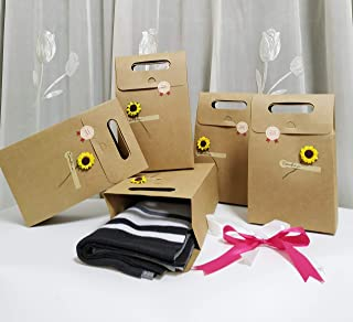 """SHHS Hard Kraft Paper Gift Bags with Flower(5 Set)-(6.3""""X 3.5""""X11"""") Minimalist Natural Gift Wrap Boxes, Decorative Presents Box Bundle for Packing Tie/Clothes/Scarf/Shoes"""