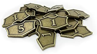 Citadel Black MTG Loyalty Counters Set of 20 Metal Tokens - with Velvet Drawstring Pouch, Antique Gold Finish Metal Tokens...