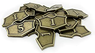 Set of 20 Metal MTG Loyalty Counters by Citadel Black - with Velvet Drawstring Pouch, Antique Gold Finish Metal Tokens, Magic: The Gathering