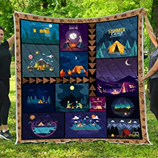 VTH Global Camping Quilt Pattern Blanket All-Season Quilts Comforters with Reversible Cotton King Queen Full Twin Size Quilted Campers Gifts RV Camping Lovers