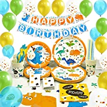 WERNNSAI Dinosaur Party Supplies Set - Dinosaur Themed Party Decoration for Boys Kids Birthday Cutlery Bag Table Cover Plates Cups Napkins Straws Utensils Banner & Balloons Serves 16 Guests 169 PCS