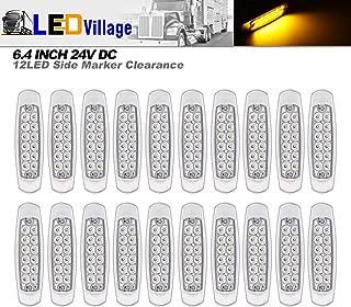 20 pcs 24V DC LedVillage 6.4 Inch LED 12 Diodes Clear Lens Amber Ultra Thin Freightliner Side Maker Light Surface Mount Peterbilt Style Clearance Lamp Truck Trailer RV Boat Sealed Bulb Chrome Housing