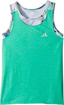 adidas Kids Melange Twofer Tank Top (Big Kids)