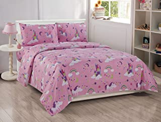Better Home Style Pink Girls/Kids 3 Piece Sheet Set with Unicorns Castles and Rainbows in Magical Lands Includes Pillowcases Flat and Fitted Sheets # Unicorn Castle Lavendertle Lavender (Twin)