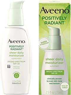 Aveeno Positively Radiant Sheer Daily Moisturizing Lotion for Dry Skin with Total Soy Complex and SPF 30 Sunscreen, Oil-Fr...