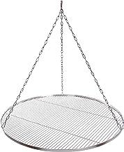 Grillrost Durchmesser 100 cm mit Kette Edelstahl 4 mm Grillstabdicke Stababstand 14 mm für Schwenkgrill BBQ Dreibein