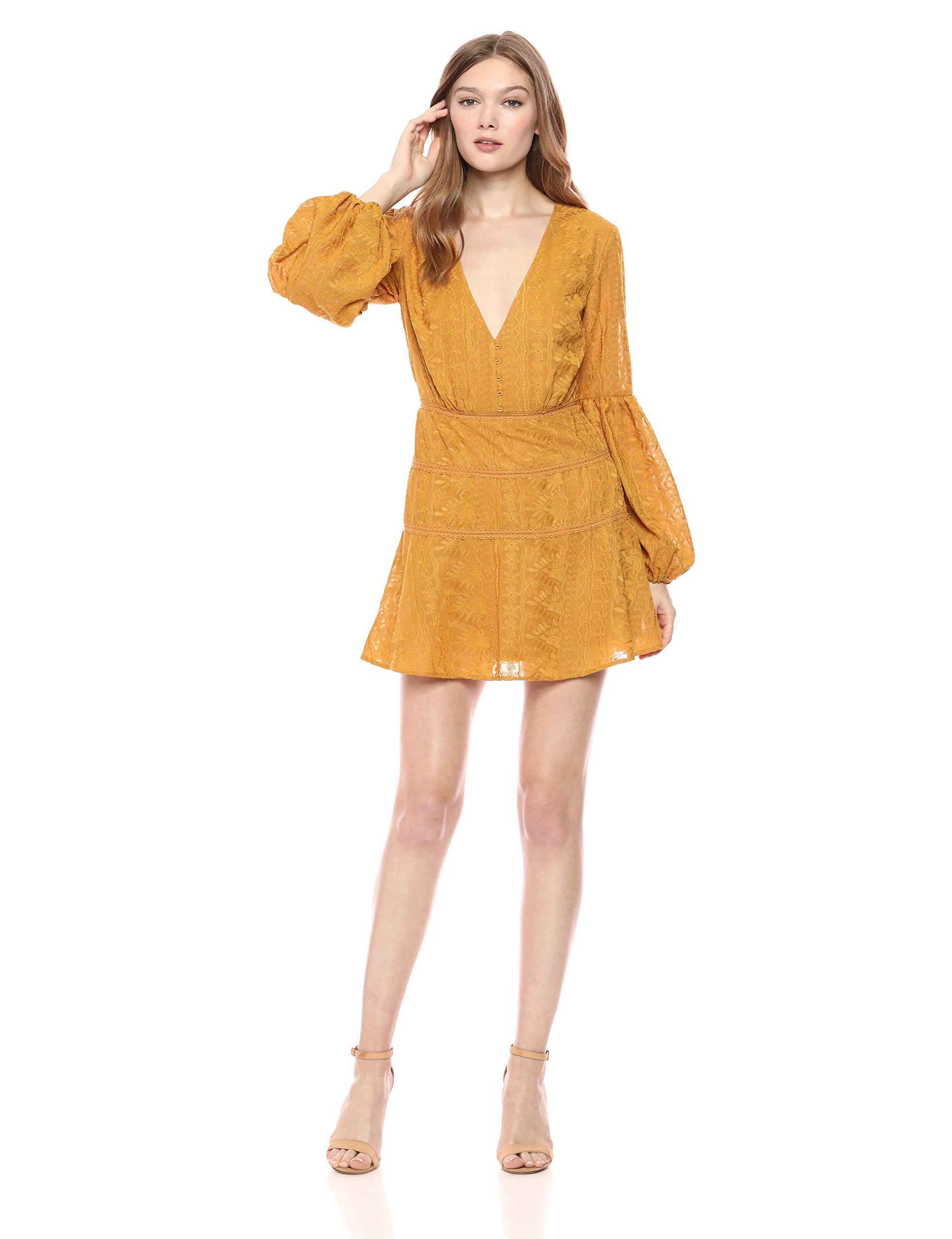 Available at Amazon: findersKEEPERS Women's Maella V Neck Long Sleeve Mini Dress