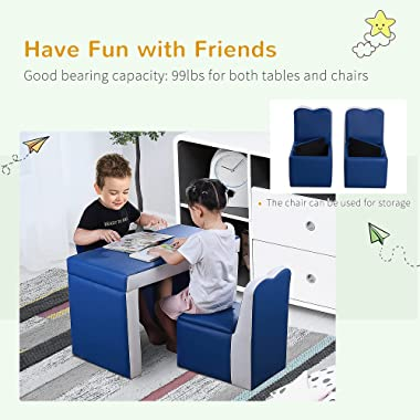 Qaba Kids 2-in-1 Multi-Functional Play Table & 2 Chair Set with Couch Storage Box for 3-6 Year Olds, Blue