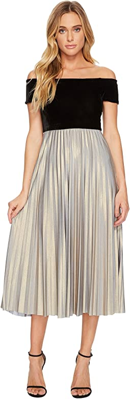 Off Shoulder Midi Dress with Velvet Top and Pleated Jersey Skirt