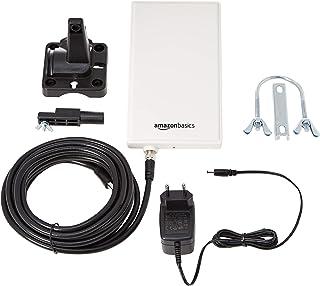 Amazon Basics - Antenna TV e radio digitali, da interni ed esterni, per HDTV, ricevitore DVB-T, VHF, UHF e FM, portata 48 km