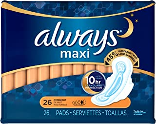 Always Maxi Pads with Flexi-Wings, Overnight, 26 Count