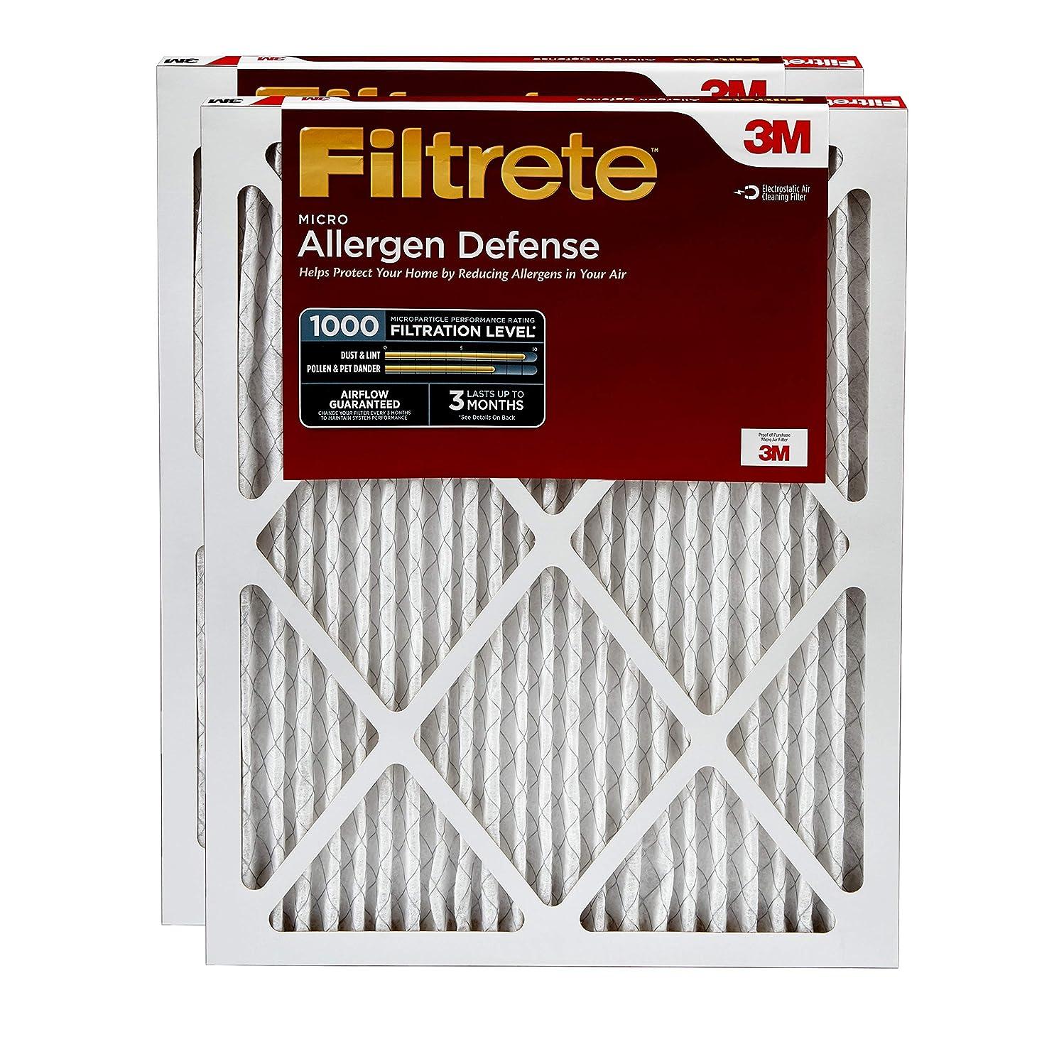 Filtrete 12x24x1, AC Furnace Air Filter, MPR 1000, Micro Allergen Defense, 2-Pack